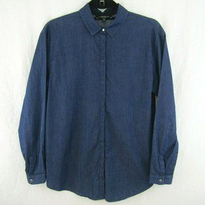 Lafayette 148 Blue Chambray Blouse Covered Snaps